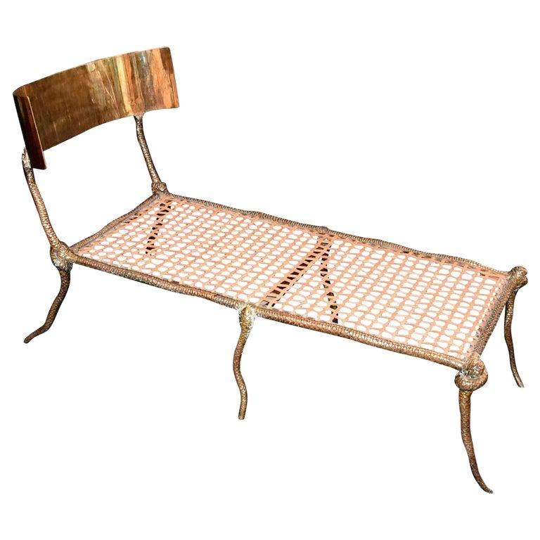 "Chaise Longue Design ""Serpent"" en Laiton"