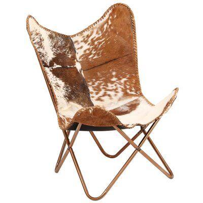 Chaise à papillon en cuir de chèvre véritable Rustique Altieri d'Union