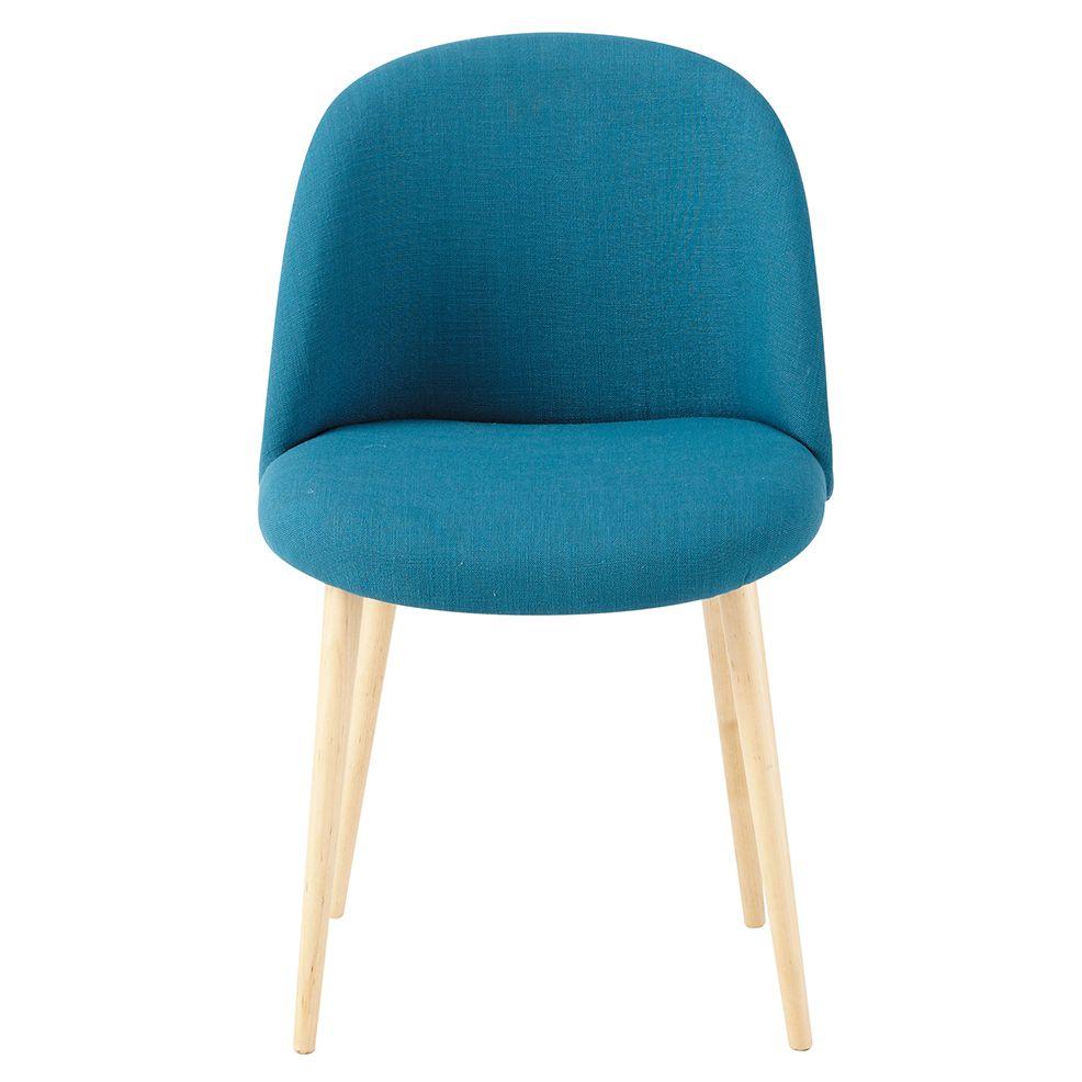 Chaise bleu pétrole vintage avec bouleau massif