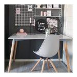 Chaise de salle à manger Moda en plastique gris, blanc / cuivre, style de chaise Eames DSW