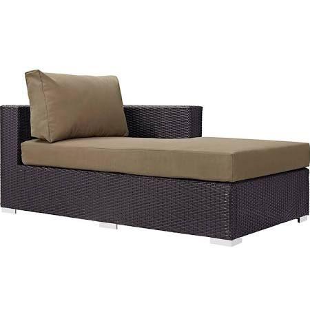Chaise de salon en tissu avec bras droit pour patio, fini expresso moka – East End Imports EEI-1843-EXP-MOC