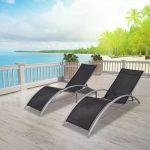 Chaise longue relaxante de jardin en plein air avec table en aluminium et chaises longues de plage noires, mobilier d'extérieur