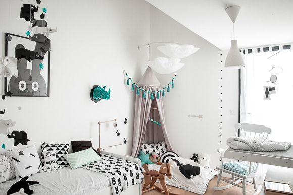Chambre bébé noire et blanche
