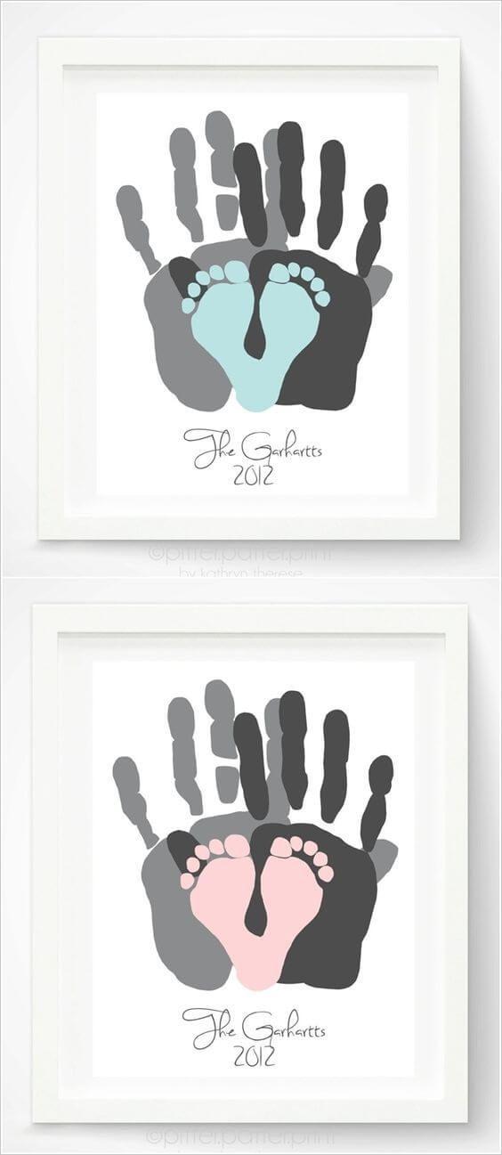 Chambre de bricolage pour bébé, idées déco, empreinte de la main, empreinte de pas – bébé idées de bricolage – #B …