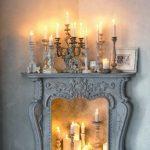 Cheminée décorative - ambiance romantique avec bougies et lanternes