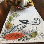 Chute des feuilles, chemin de Table d'automne, décor de l'automne, linge de cuisine, oiseau noir, linge de maison de vacances, nappes, Thanksgiving, peints à la main, artisanat
