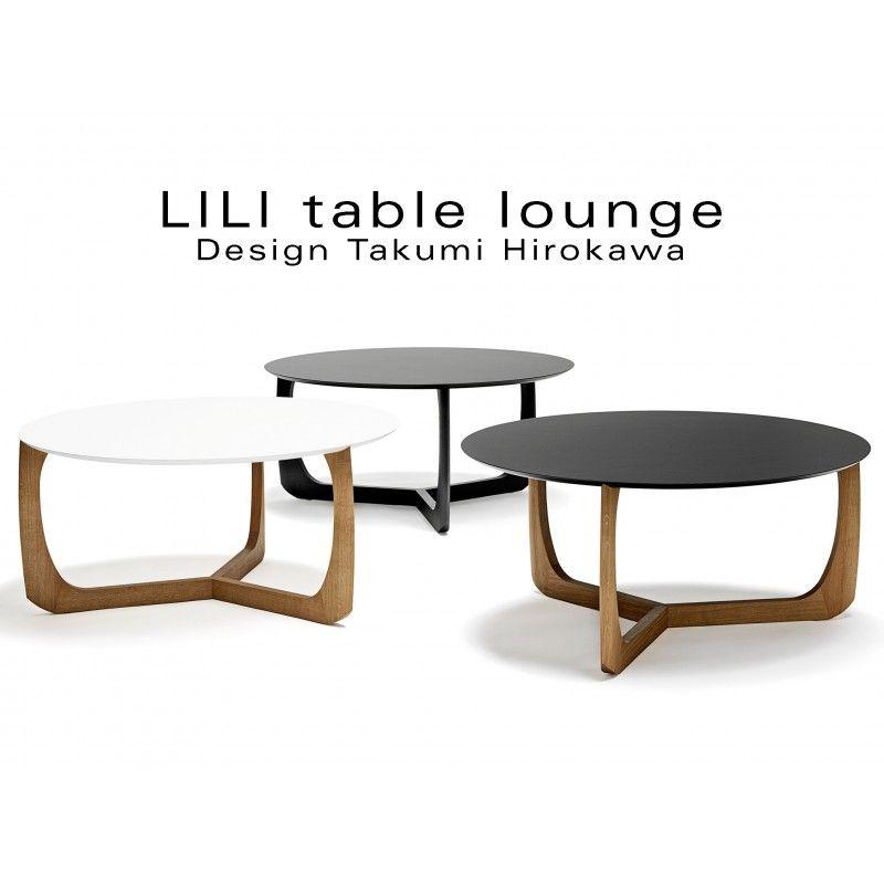 Collection table basse lounge LILI plateau rond piétement chêne huilé ou tein…