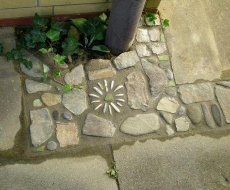 Conception de jardin de carreaux de sol en mosaïque de pierre
