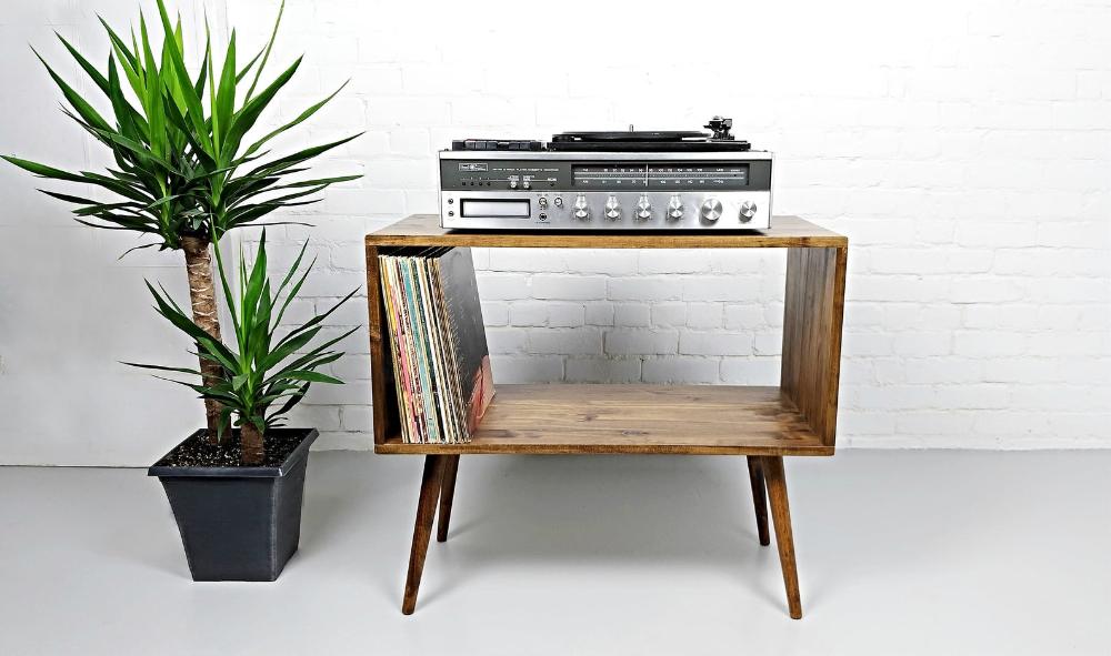 Console d'enregistrement au milieu du siècle moderne, console pour lecteur de disques, stockage pour lecteur de disques