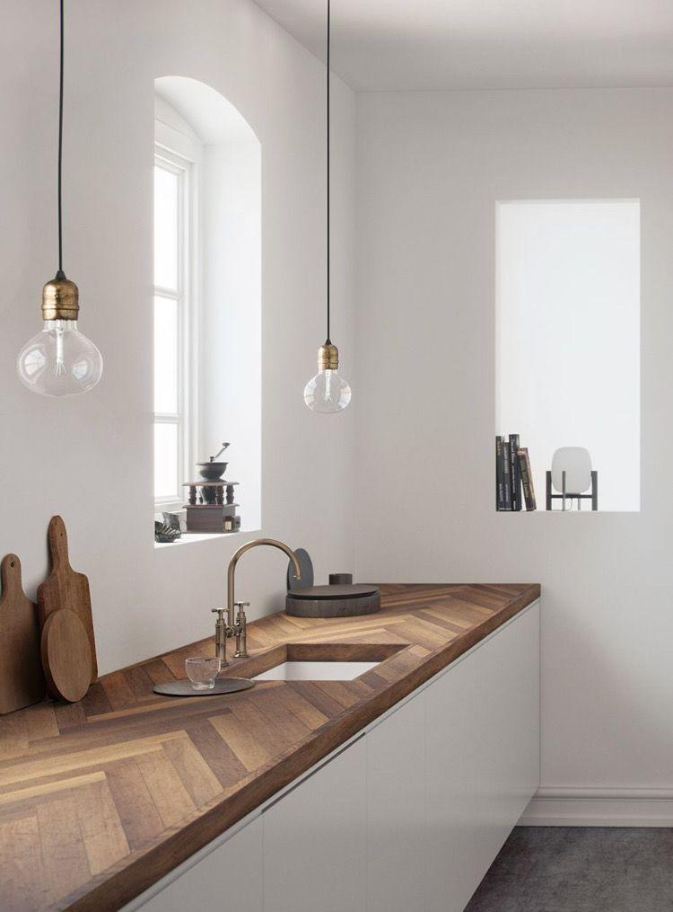 Cuisine minimaliste plan de travail chêne massif #cuisine #kitchen #chêne #boi…