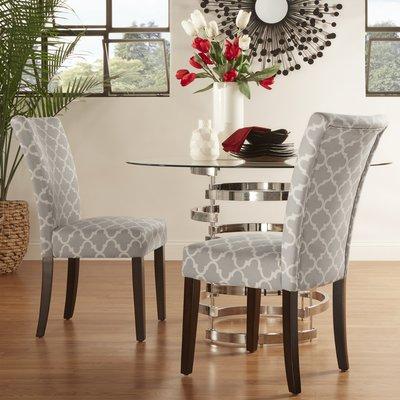 Darby Home Co Chaise de salle à manger rembourrée rembourrée Couleur: Noir vulcain