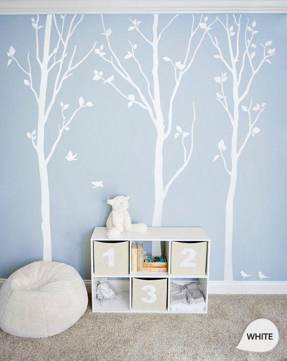 """Décalcomanies d'arbres blancs – Déco murale de bouleau blanc – Décorations murales – Décorations murales – Grand: environ 92 """"x 81"""" – KC003"""