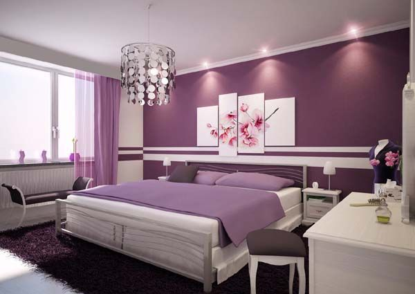 Déco intérieur Pourpre   Il ya idées de décoration des chambres à coucher a…
