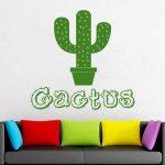 Décor de cactus, épines, fleur, plante, cadeau, décoration murale, sticker mural, autocollant pour fenêtre, autocollant en vinyle Fait à la main 2464
