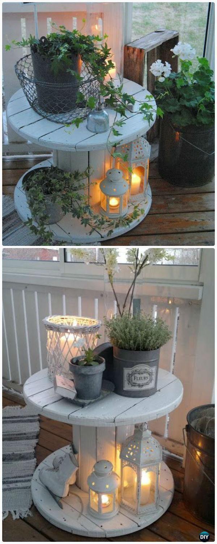 Décor de lumières de porche de table de bobine de fil DIY – idée de recyclage de bobine de câble en bois