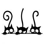 Décoration de bricolage Trois animaux drôles de chats Stickers muraux Chambre Chambre Ménage PVC Fenêtre Patch