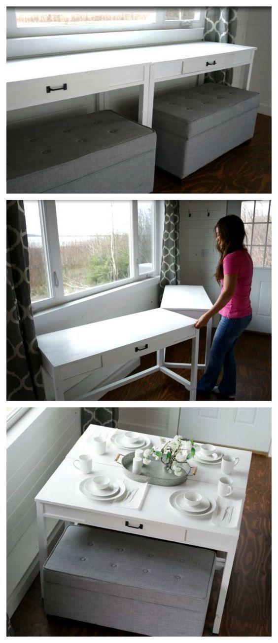 Des bureaux pour notre petite maison sur roues dans une table.