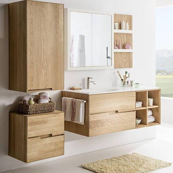 Des meubles de salle de bain parfaits pour tout y ranger ! Toujours en bois ou e…