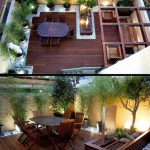 Design de jardin moderne - sol en bois, galets décoratifs, plantes de bambou