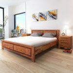 Détails sur Ensemble de tête de lit king size en bois massif avec mobilier de chambre moderne marron