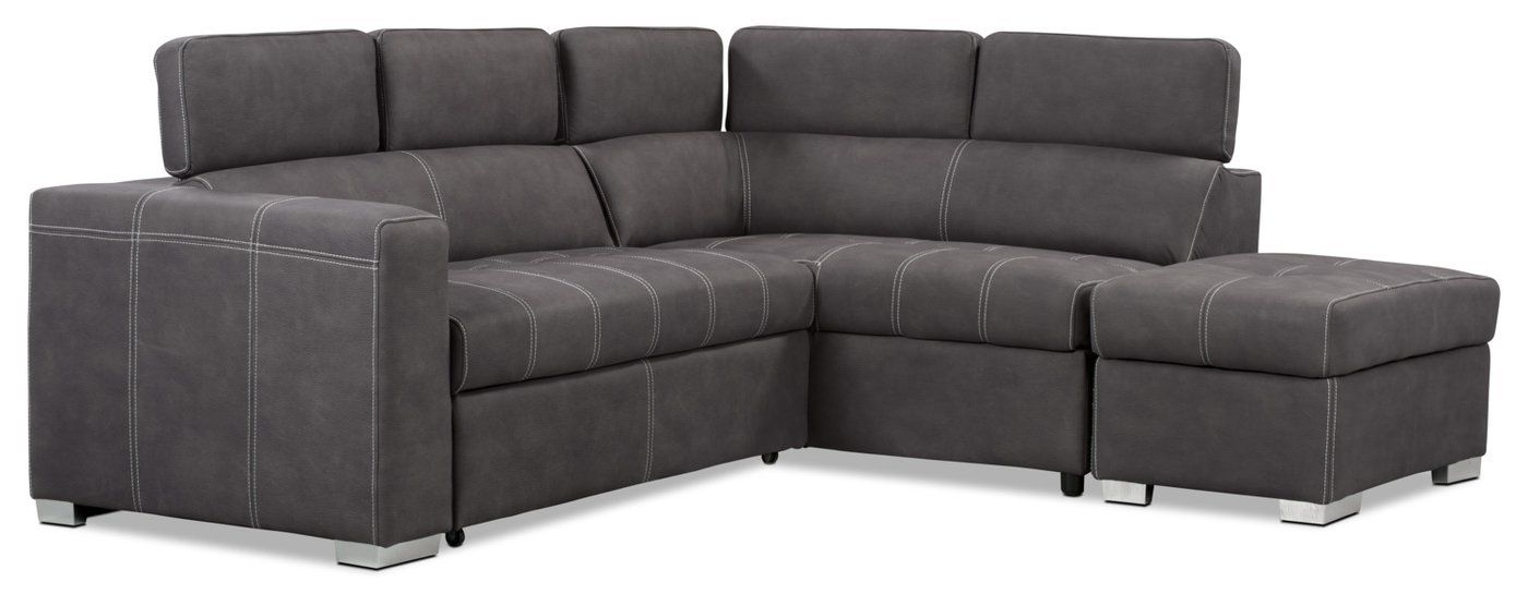 Drake 3-Piece Faux Suede Right-Facing Sectional with Sofa Bed – Cement