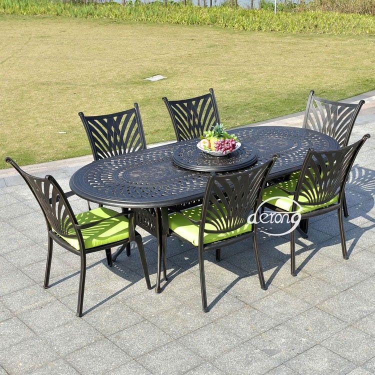 En fonte d'aluminium une table 6 chaises salle à manger ensemble en plein air m…