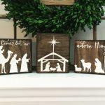 Ensemble bloc Nativité, ensemble de la Nativité, signe de la Nativité, crèche de Noël, signe de Noël, décoration de Noël, blocs de Noël, décoration saisonnière