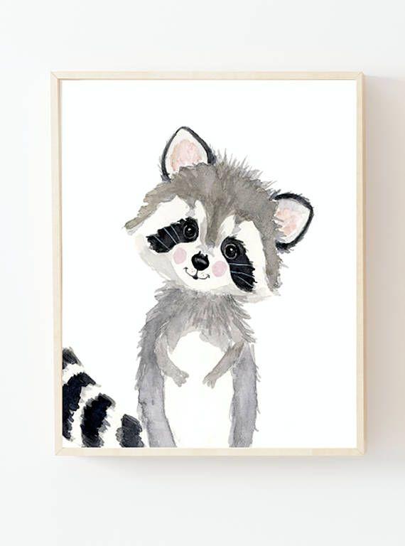 Ensemble de 3 pépinières, art de pépinière neutre, décor de pépinière, art mural pour enfants, art de pépinière, écureuil, peinture de renard, animaux de la forêt pour bébés
