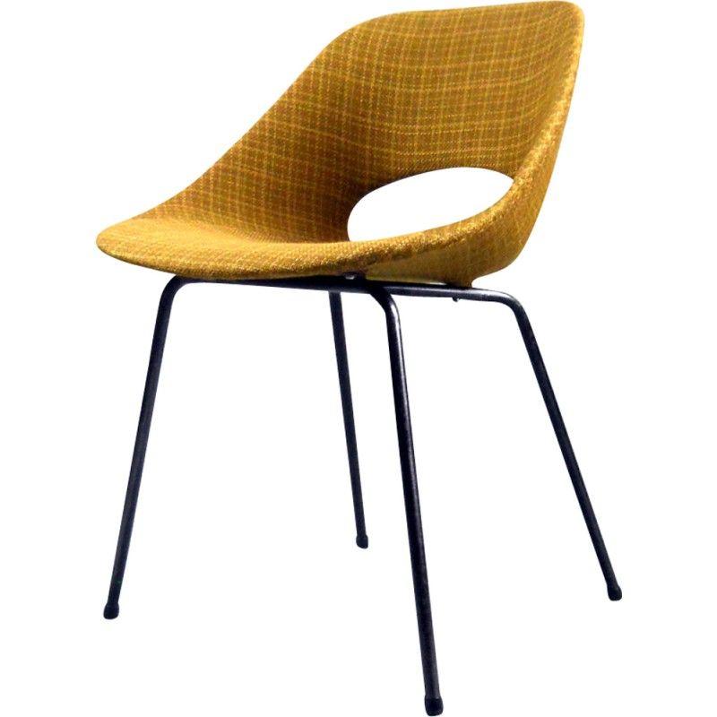 Ensemble de 4 chaises Tulipe en aluminium et tissu de Pierre Guariche Pour Steiner – 1950