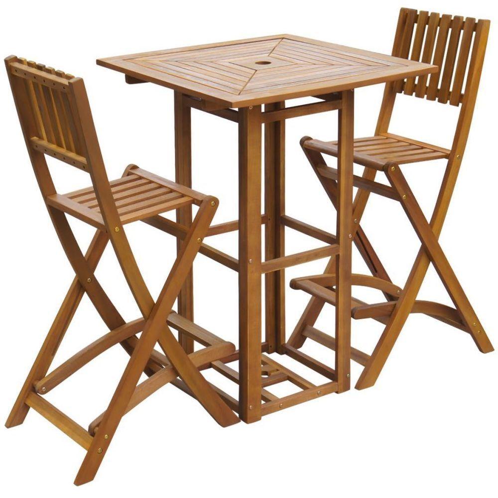 Ensemble de bar d'extérieur vidaXL en bois d'acacia massif, restaurant, café, siège de table, chaise de pub 8718475502630   eBay