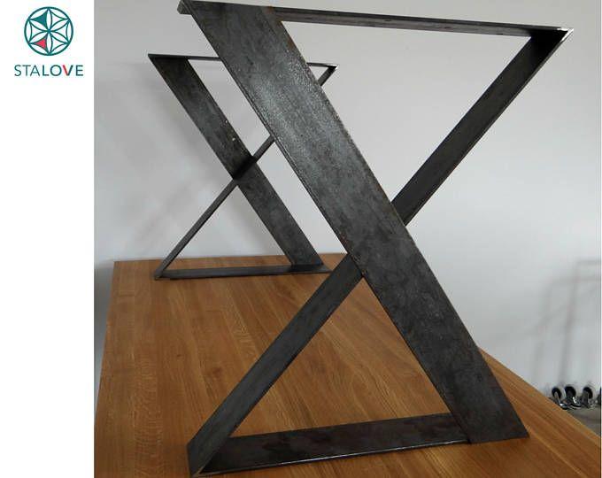 Ensemble de deux pieds de table en métal, pieds de table en fer, pieds de table en acier, pieds de table modernes, pieds de table en métal