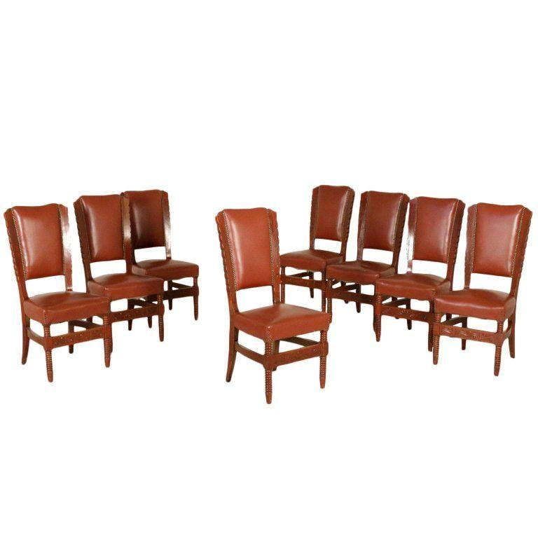 Ensemble de huit chaises en similicuir teinté hêtre, Italie, 1950s