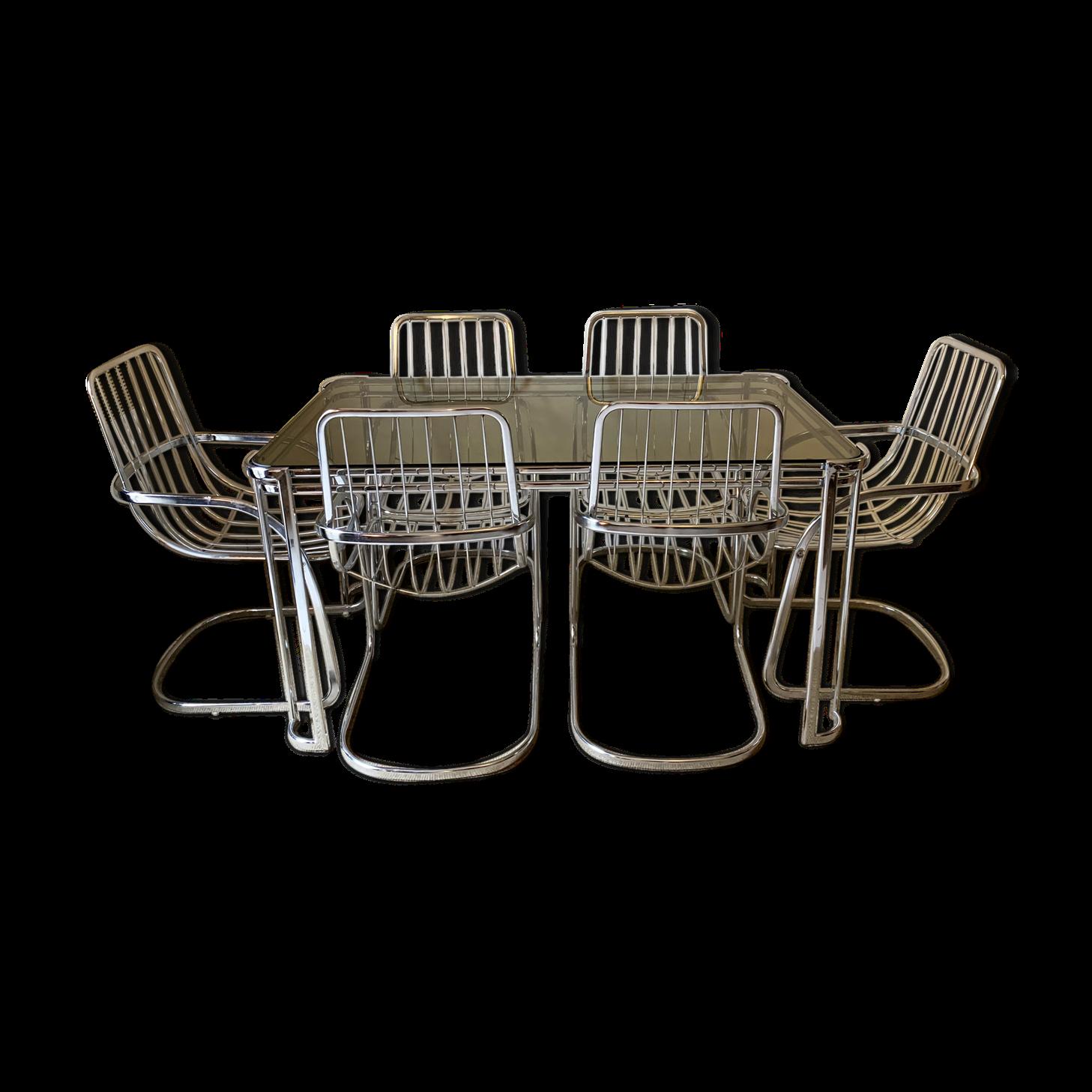 Ensemble de salle à manger de 6 chaises Gastone Rinaldi de 1970 et d'une table assortie