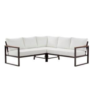 Ensemble de sièges sectionnel de patio extérieur en aluminium noir de Hampton Bay West Park avec coussins nus