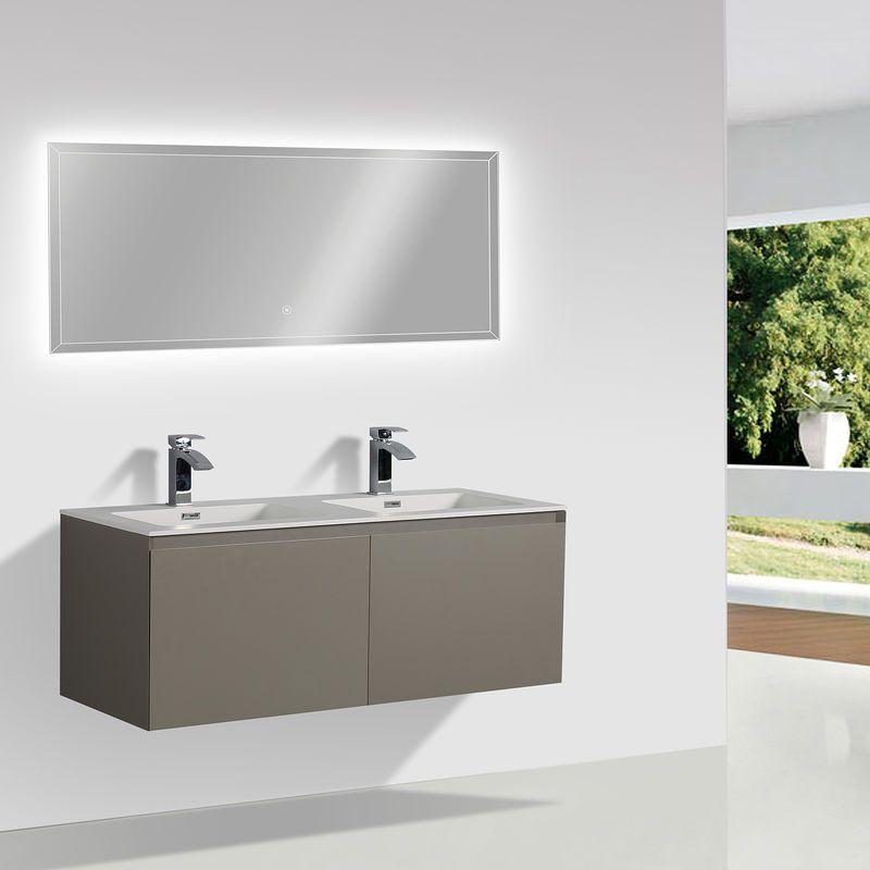 Ensemble salle de bain DO600 couleur noyer – en option miroir ou armoire de toilette: Avec miroir 2137 – BERNSTEIN