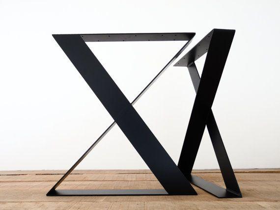 Esstisch-Beine, 28″ H X 24″ W breit Flachstahl Stahl Tisch Beine, Höhe 26″ bis 32″ Set(2)