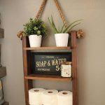 Étagère d'échelle rustique, étagère en bois et corde, décor de ferme, décor de meubles de ...