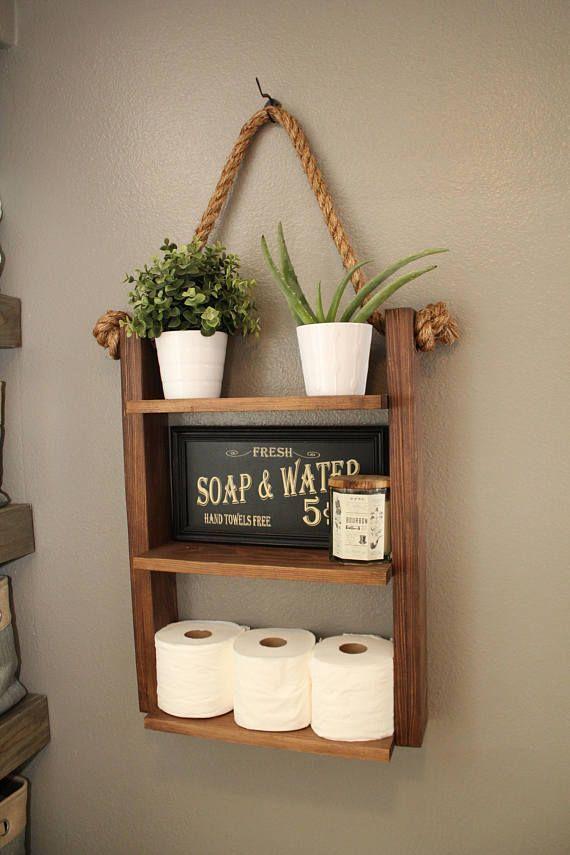 Étagère d'échelle rustique, étagère en bois et corde, décor de ferme, décor de meubles de …