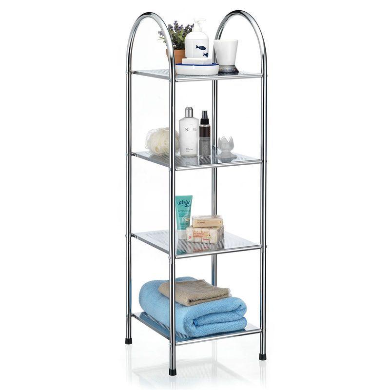 Etagère de salle de bain SECA meuble de rangement sur pied avec poignée et 4 tablettes, en métal chromé – IDIMEX