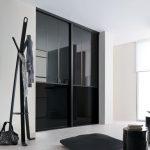 Façade de placard coulissante 2 portes miroir plomb, verre laqué noir | Kazed