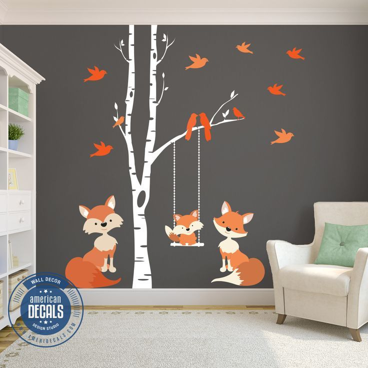Famille Orange Stickers Muraux Woodland Nursery – #Décalques #Famille #Fox #nursery # …