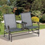 Fauteuil à bascule 2 places Patio Glider Rocking Chair Table de meuble à balançoire en métal $ ...