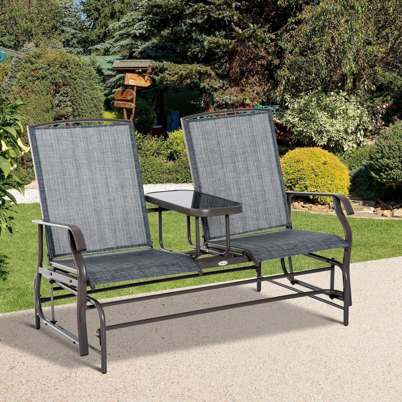 Fauteuil à bascule 2 places Patio Glider Rocking Chair Table de meuble à balançoire en métal $ …