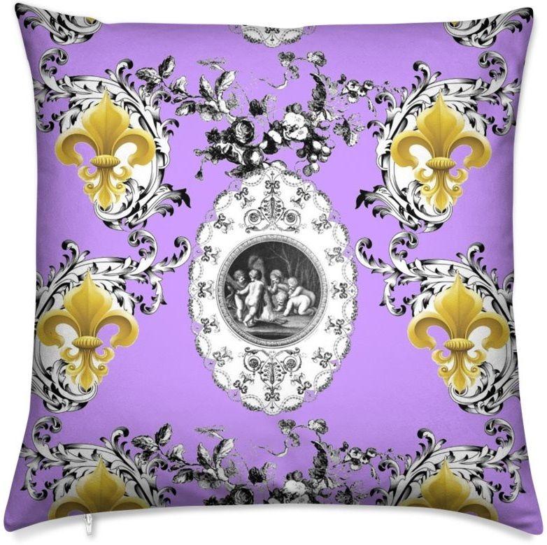 Fleur de lys or et Anges Toile de Jouy lilas violet