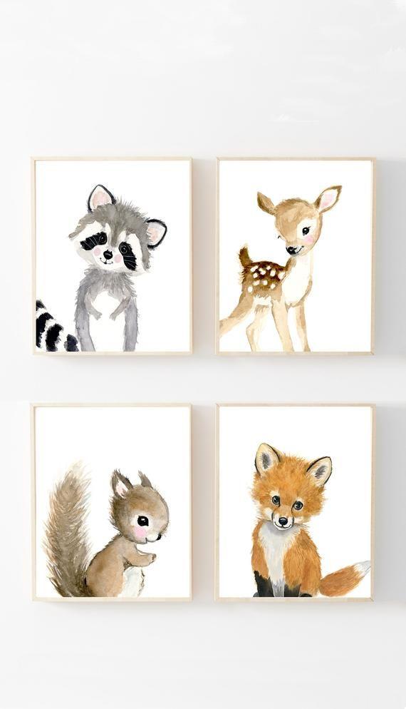 Forest Garden Prints Ensemble de 4, Art de la pépinière neutre, Garderie, Enfants, Art de la maternelle, Douche de bébé sur le thème Woodland, Impressions d'école de forêt