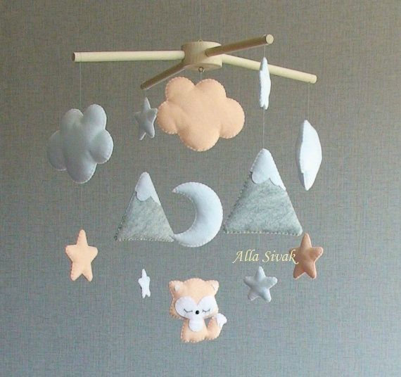 Fox Baby Mobile, Mountain Mobile, décor de chambre de bébé pêche / orange, Woodland Fox …