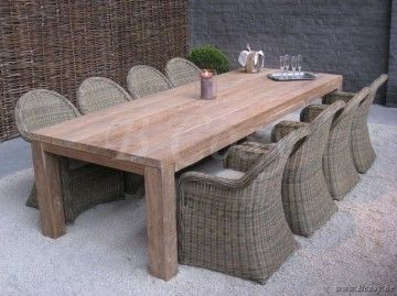 Gescova Primitive II table à manger   Solide Naturel Rectangulaire Ancien en …