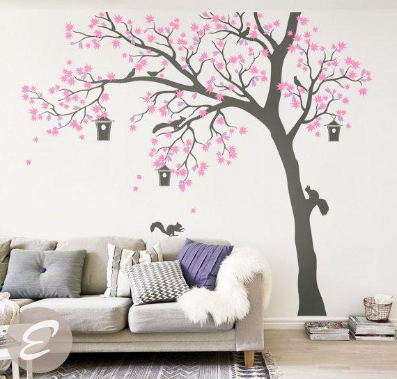 Grand arbre autocollant arbre et oiseaux wall sticker arbre et oiseaux mural art tatouage grand mur autocollant pour sticker mural chambre d'enfant pour chambre de bébé-AM002