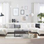 Grand canapé en forme de U en simili-cuir blanc ABERDEEN