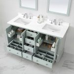 Home Decorators Collection Orillia 60 in. W x 22 in. D Vanity in Misty Latte with Marble Vanity Top in White with White Sink-Orillia 60ML